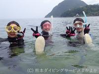 波が無い穏やかな海で初めてのダイビング体験